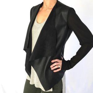 Leather Sheer Sleeve Waterfall Blazer Zara